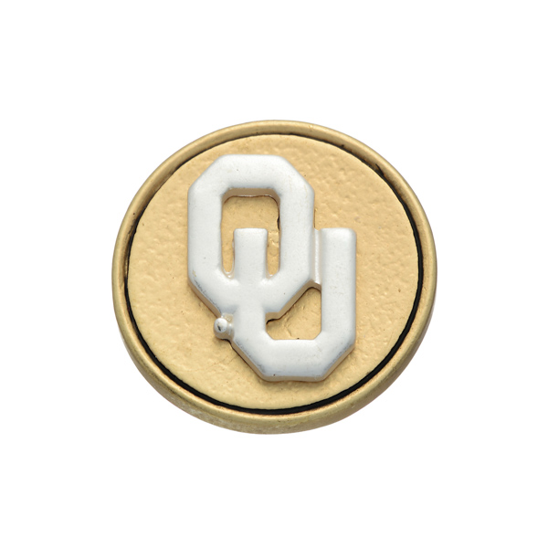 Matte two tone officially licensed University of Oklahoma snap charm. Snap jewelry collection.