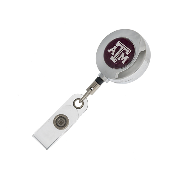 Officially licensed, Texas A&M University ID badge holder, with retractable reel.