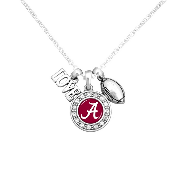 "Officially licensed 16"" Silver tone chain necklace featuring a cluster pendant with a ""Love"" and football charm and a round Alabama logo surrounded with crystal clear rhinestones."
