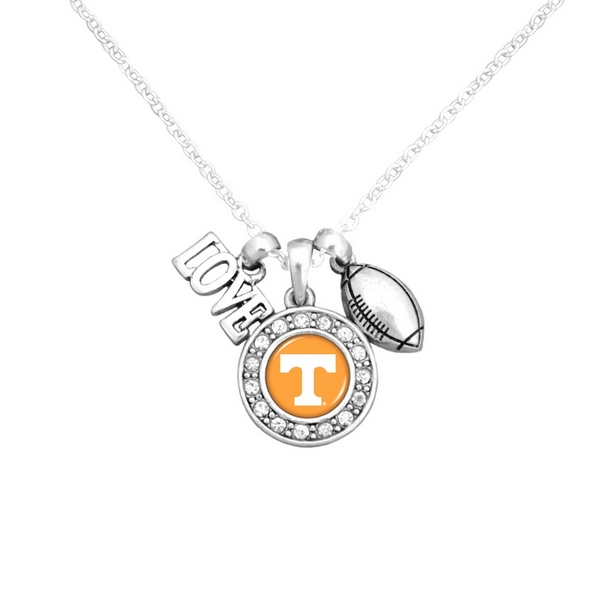 """Officially licensed 16"""" Silver tone chain necklace featuring a cluster pendant with a """"Love"""" and football charm and a round Tennessee logo surrounded with crystal clear rhinestones."""