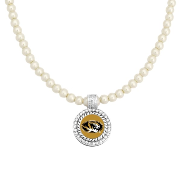 """Officially licensed 16"""" Ivory pearl beaded necklace featuring a 1"""" round silver tone Mizzou pendant surrounded by crystal clear rhinestones."""