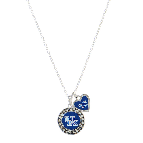 Wholesale silver necklace Kentucky logo heart charm inscribed Go Big Blue