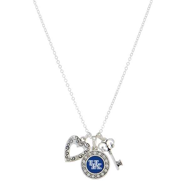 """18"""" silver tone necklace featuring a Kentucky logo, a heart shaped charm, and a key"""