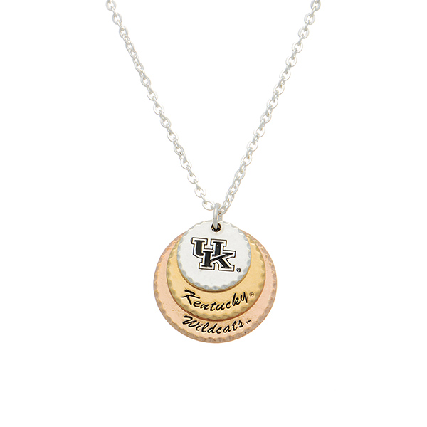 """Silver tone collegiate necklace featuring three mixed metal disk stamped """"UK,"""" """"Kentucky,"""" and """"Wildcats."""" Approximately 17"""" in length."""