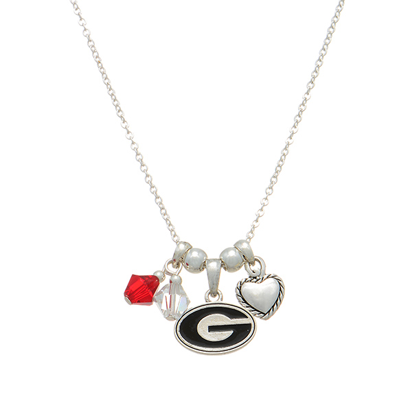 Wholesale silver officially licensed collegiate necklace Georgia charm