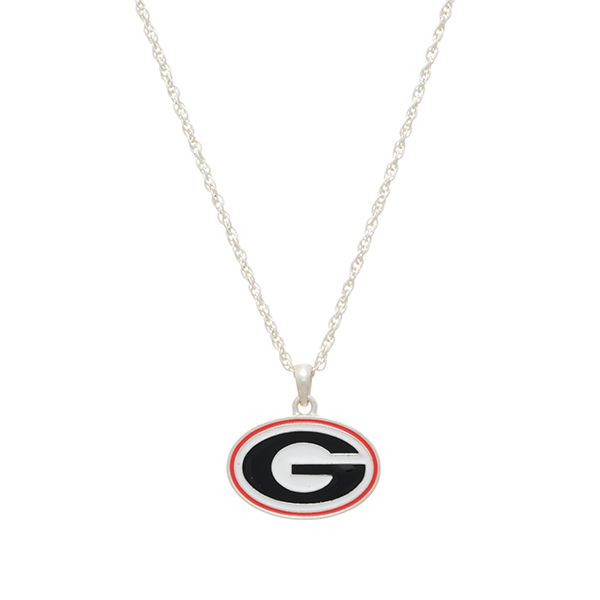 Wholesale silver officially licensed collegiate necklace University Georgia char