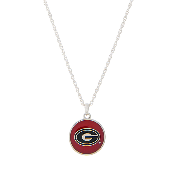 Wholesale silver necklace red black officially licensed University Georgia penda