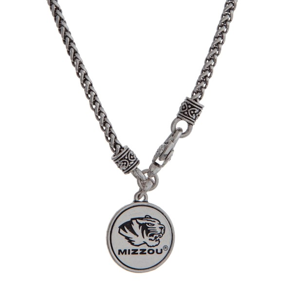 """Officially licensed University of Missouri silver tone necklace with a front lobster claps and a logo charm. Approximately 18"""" in length."""