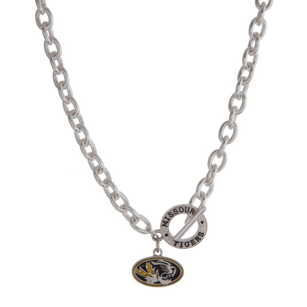 """Silver tone officially licensed University of Missouri toggle necklace with the logo charm. Approximately 18"""" in length."""
