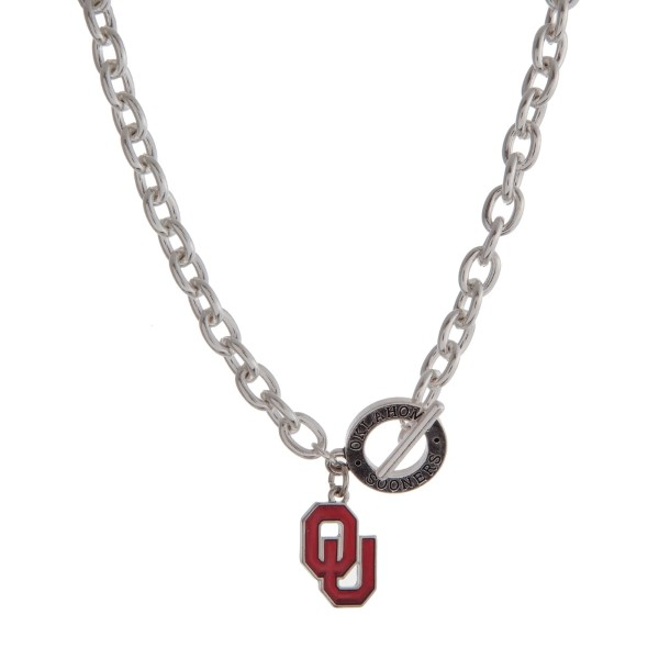 """Silver tone officially licensed University of Oklahoma toggle necklace with the logo charm. Approximately 18"""" in length."""