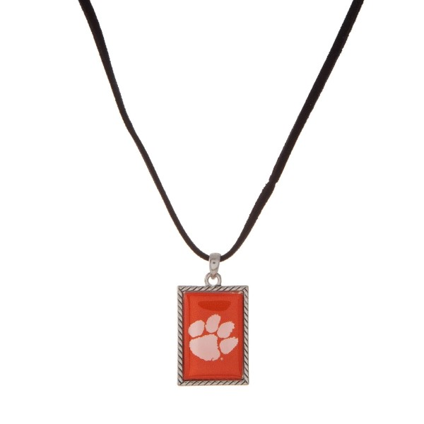 Wholesale officially licensed Clemson University necklace black cord square logo