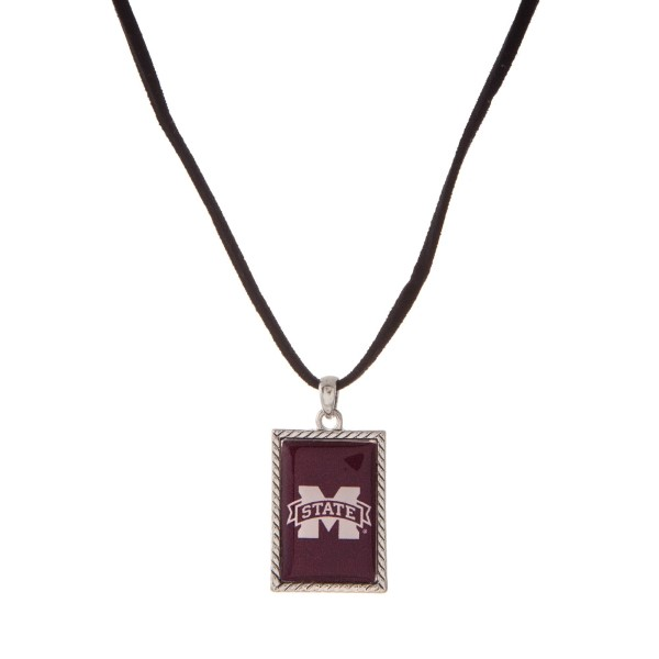 """Officially licensed Mississippi State University necklace with black cord and a square logo pendant. Approximately 16"""" in length."""