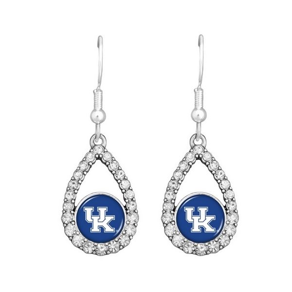 """Silver tone 1"""" tear drop earrings with officially licensed University of Kentucky logo and crystal trim on fish hooks."""