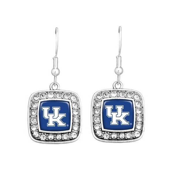 Officially licensed University of Kentucky silver tone 3/4 square shaped earrings with logo and crystal trim on fish hooks.