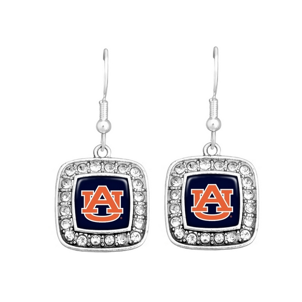 """Officially licensed Auburn University earrings 3/4"""" square shape with logo trimmed in crystals on fish hooks."""
