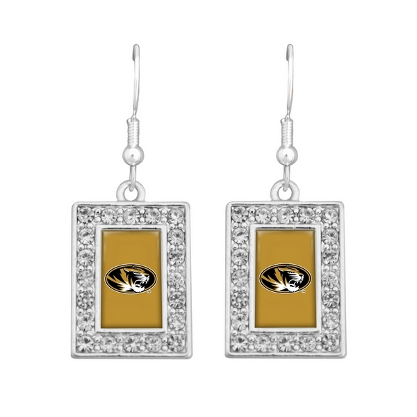"""Officially licensed 1 1/2"""" silver tone earrings featuring a rectangular shaped Missouri logo with clear crystal rhinestones."""