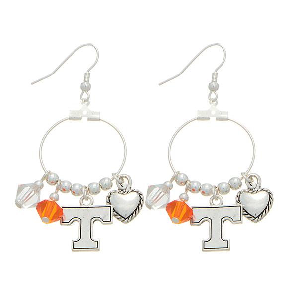 Wholesale silver officially licensed fishhook earrings Tennessee Volunteers char