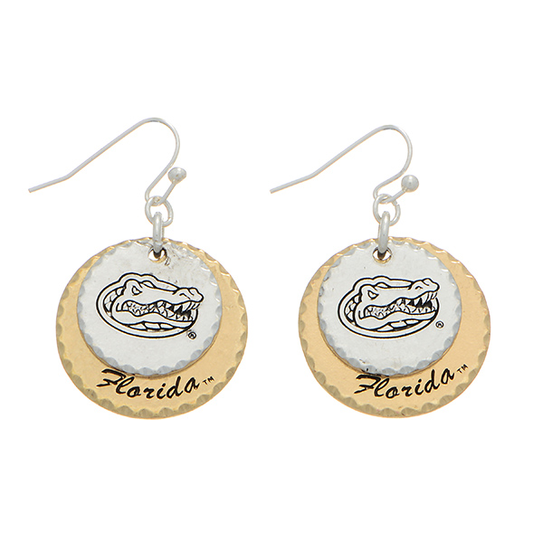 Wholesale silver officially licensed collegiate fishhook earrings two mixed meta
