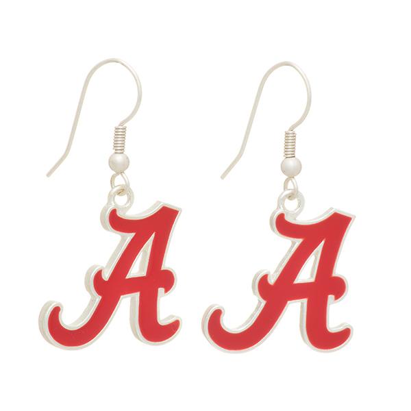 Wholesale silver officially licensed fishhook earrings University Alabama logo