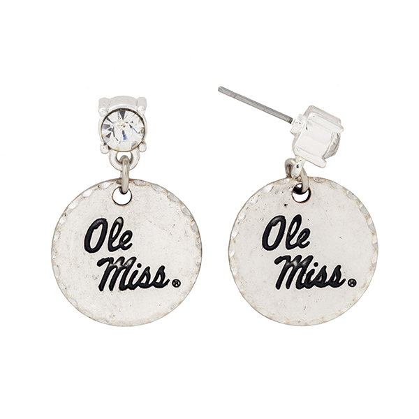 Wholesale silver post earrings rhinestone dangling officially licensed Ole Miss