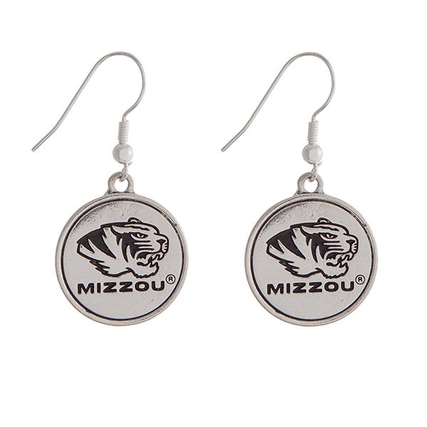 """Officially licensed University of Missouri silver tone fishhook earrings with a circle logo. Approximately 2"""" in length."""