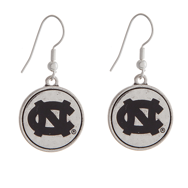 """Officially licensed University of North Carolina silver tone fishhook earrings with a circle logo. Approximately 2"""" in length."""
