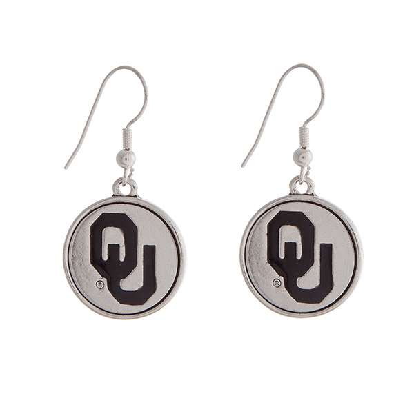 """Officially licensed University of Oklahoma silver tone fishhook earrings with a circle logo. Approximately 2"""" in length."""
