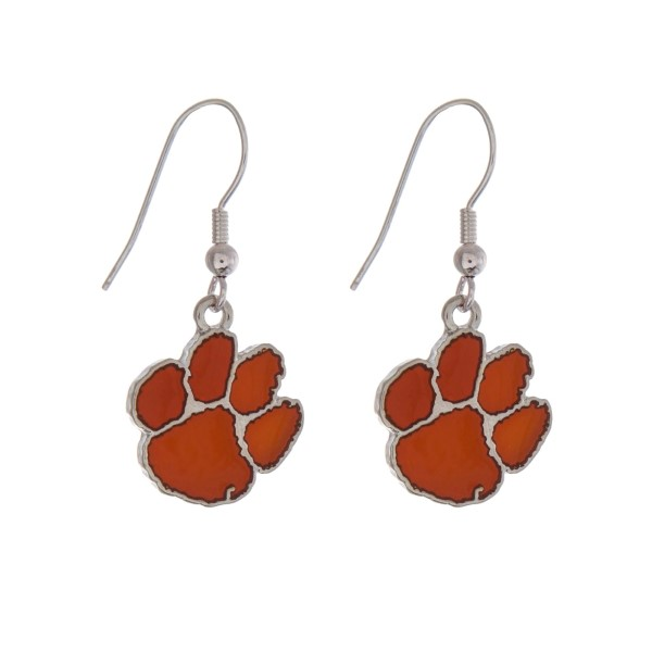 """Silver tone officially licensed Clemson University earrings displaying the logo. Approximately 1"""" in length."""
