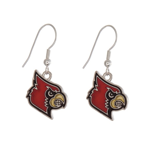 """Silver tone officially licensed University of Louisville earrings displaying the logo. Approximately 1"""" in length."""