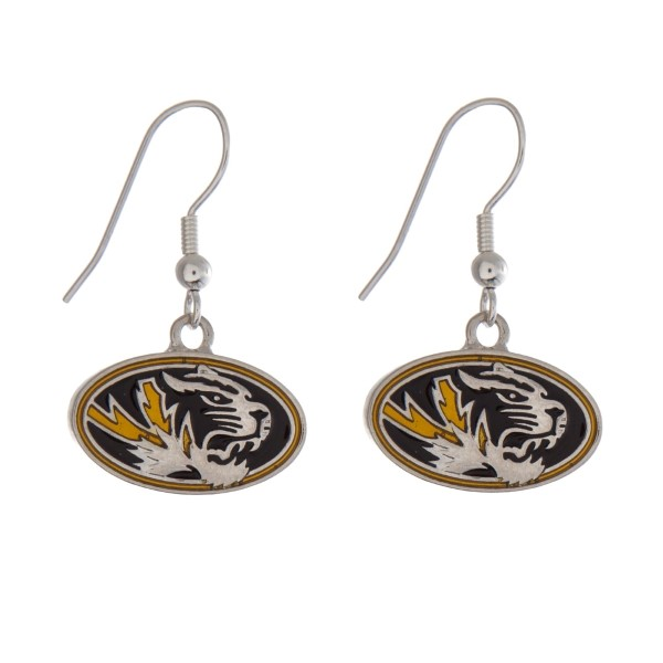"""Silver tone officially licensed University of Missouri earrings displaying the logo. Approximately 1"""" in length."""