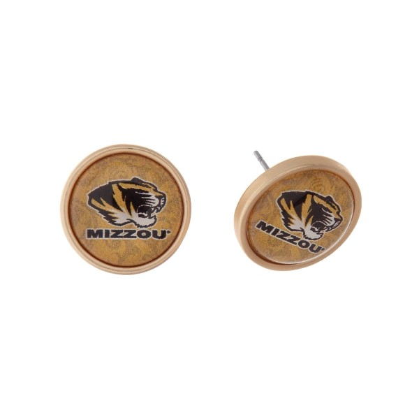 """Gold tone officially licensed University of Missouri stud earrings. Approximately 2/3"""" in length. Our exclusive design."""