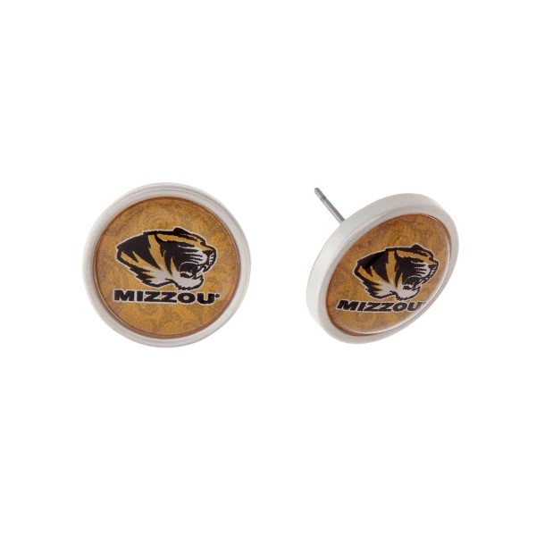 """Silver tone officially licensed University of Missouri stud earrings. Approximately 2/3"""" in length. Our exclusive design."""