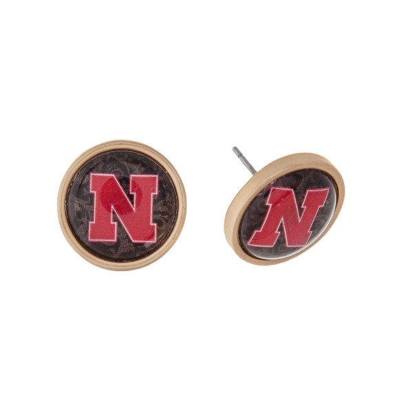 """Gold tone officially licensed University of Nebraska stud earrings. Approximately 2/3"""" in length. Our exclusive design."""