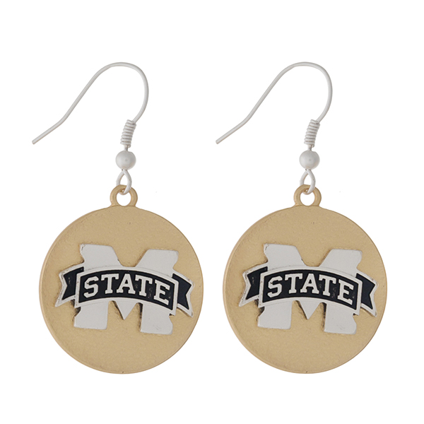 """Officially licensed, two tone fishhook earrings with the Mississippi State logo. Approximately 1"""" in diameter."""