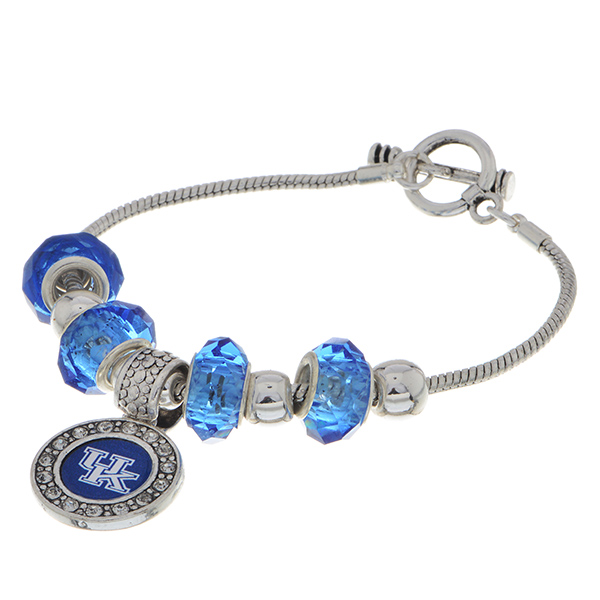 Wholesale officially licensed Silver toggle closure charm bracelet Kentucky logo