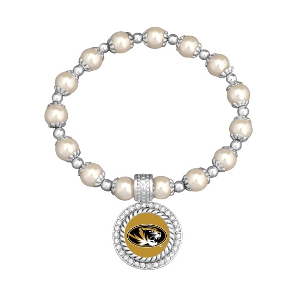 Officially licensed pearl bead and silver tone stretch bracelet, featuring a silver tone medallion charm with a Missouri logo center, accented with crystal clear rhinestones.
