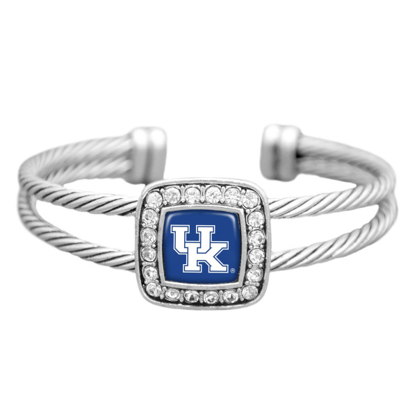 Silver tone cuff bracelet featuring the Kentucky logo and clear crystal rhinestones