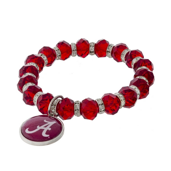 Officially licensed, University of Alabama stretch bracelet with clear rhinestone accents and a logo charm.