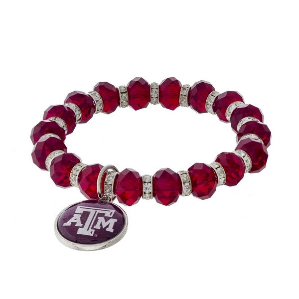 Officially licensed, Texas A&M University stretch bracelet with clear rhinestone accents and a logo charm.