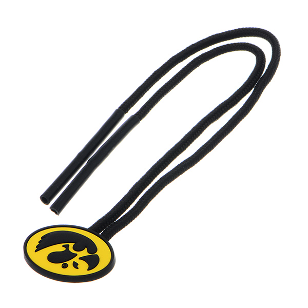 Officially licensed black Sunglasses holder featuring the Iowa logo.
