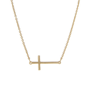 """East West Cross Necklace in a Matte Finish.  - Pendant 1""""  - Approximately 16"""" Long - 2"""" Adjustable Extender"""