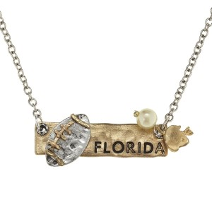 "18"" two tone necklace with a stamped bar featuring ""Florida"" and football charms"
