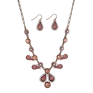 """Burnished gold tone flower design necklace set displaying pink, peach, and clear multiple shape cabochons. Approximately 17"""" in length."""