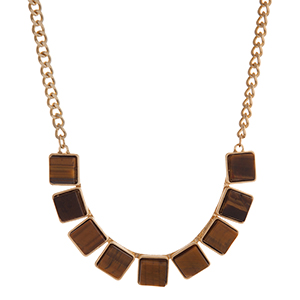 """Gold tone necklace displaying tiger eye square natural stones. Approximately 16"""" in length."""