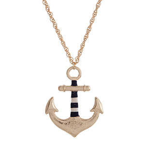 "Gold tone necklace with a 2 1/8"" anchor pendant wrapped with navy and white thread. Approximately 30"" in length."