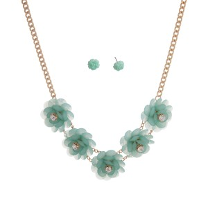 """Gold tone necklace set displaying five mint green flowers with rhinestone accents. Approximately 17"""" in length."""