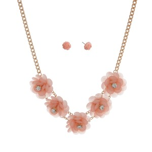 """Gold tone necklace set displaying five pink flowers with rhinestone accents. Approximately 17"""" in length."""