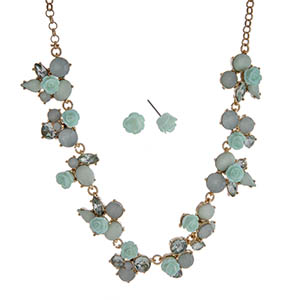 """Gold tone necklace set displaying mint green roses surrounded by multiple shaped mint cabochons. Approximately 17"""" in length."""