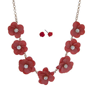 """Gold tone necklace set with coral sequin flowers with clear rhinestone centers. Approximately 18"""" in length."""