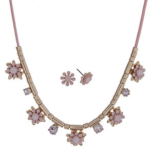 """Pink cord necklace set with light pink flowers and gold tone beads. Approximately 24"""" in length."""